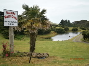Ruapuke Camp Entrance and Pond